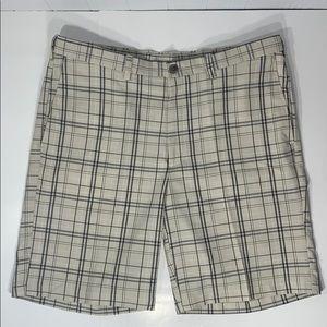 Haggar Flat Front Tan Plaid Men's Sz 38 Shorts